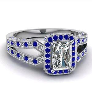 New ring 925 silver emerald cut white sapphire